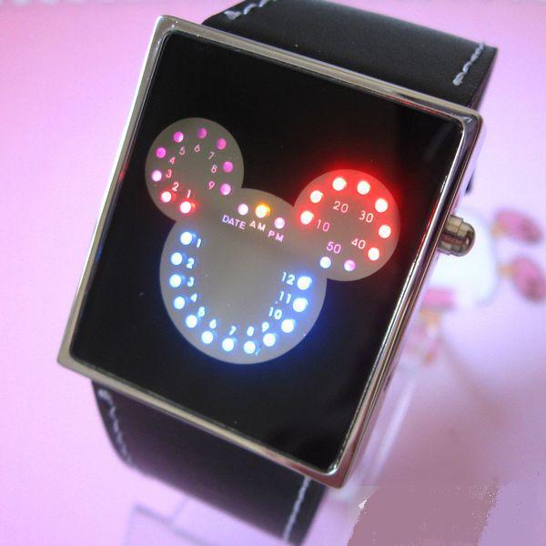 MICKEY LED Digitální hodinky pro dívky   děti s koženým řemínkem d904121919